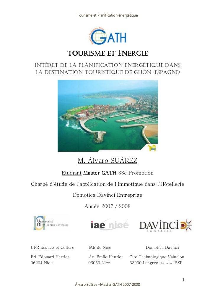 Tourisme et P                                     Planification énergétique                  TOURISME ET ÉNERGIE INTÉRÊT D...