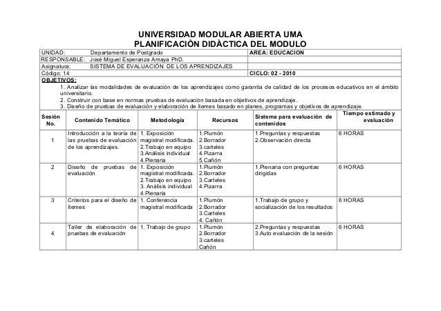 UNIVERSIDAD MODULAR ABIERTA UMA PLANIFICACIÒN DIDÀCTICA DEL MODULO UNIDAD: Departamento de Postgrado AREA: EDUCACION RESPO...
