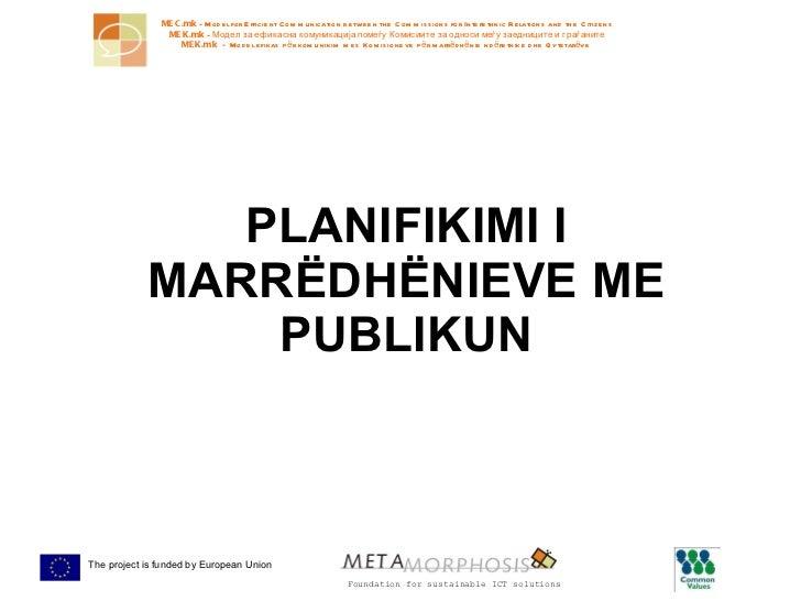 PLANIFIKIMI I MARRËDHËNIEVE ME PUBLIKUN
