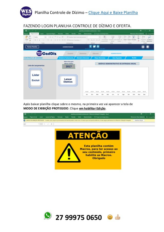 Planilha Controle de Dízimo – Clique Aqui e Baixe Planilha 27 99975 0650 FAZENDO LOGIN PLANILHA CONTROLE DE DÍZIMO E OFERT...