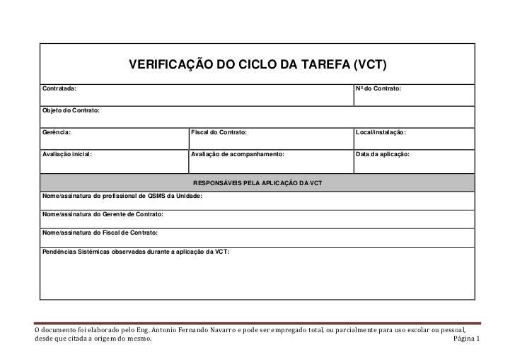 VERIFICAÇÃO DO CICLO DA TAREFA (VCT)  Contratada:                                                                         ...