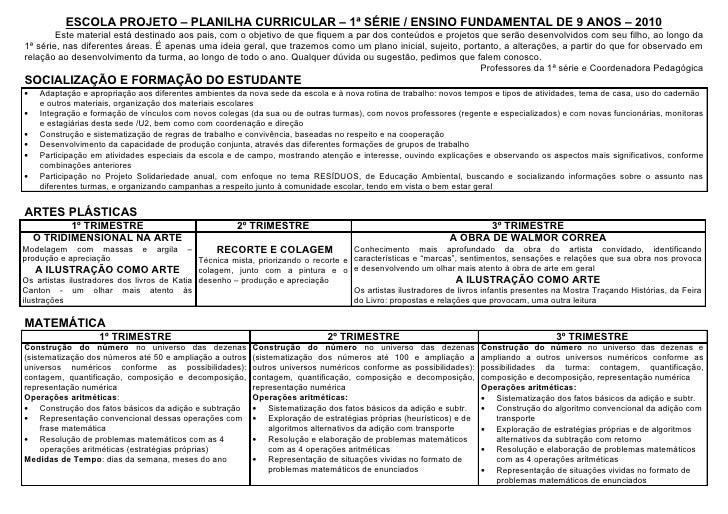 ESCOLA PROJETO – PLANILHA CURRICULAR – 1ª SÉRIE / ENSINO FUNDAMENTAL DE 9 ANOS – 2010         Este material está destinado...