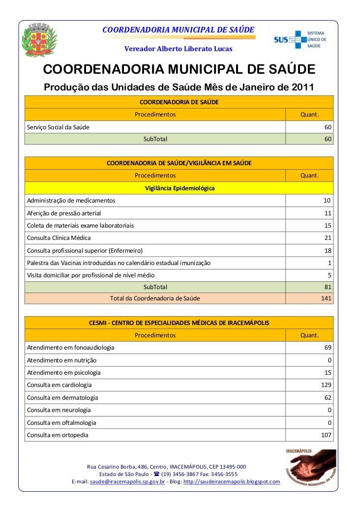 COORDENADORIA MUNICIPAL DE SAÚDE                                     Vereador Alberto Liberato Lucas      COORDENADORIA MU...
