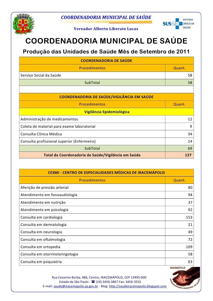 COORDENADORIA MUNICIPAL DE SAÚDE                                Vereador Alberto Liberato Lucas  COORDENADORIA MUNICIPAL D...