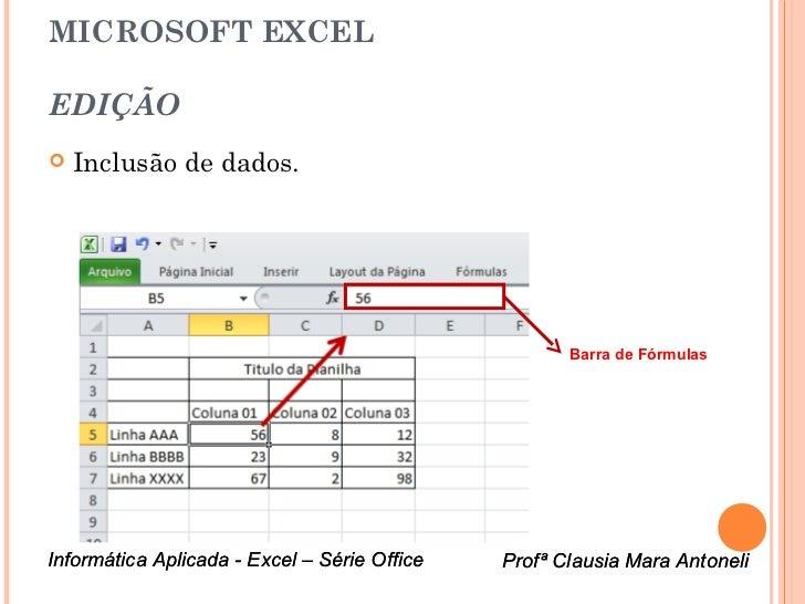 MICROSOFT EXCELEDIÇÃO   Inclusão de dados.                                                     Barra de FórmulasInformáti...