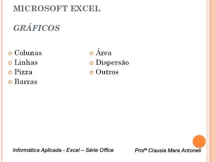 MICROSOFT EXCELGRÁFICOSInformática Aplicada - Excel – Série Office   Profª Clausia Mara Antoneli                          ...