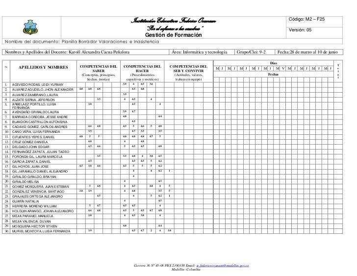 Institución Educativa Federico Ozanam                                                               Código: M2 – F25      ...