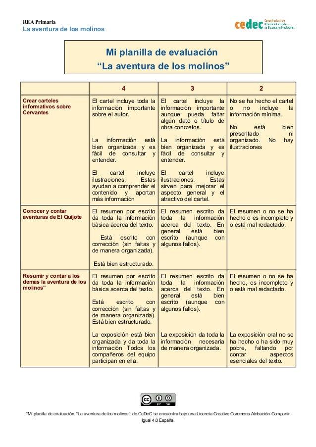 """REA Primaria La aventura de los molinos Mi planilla de evaluación """"La aventura de los molinos"""" 4 3 2 Crear carteles inform..."""
