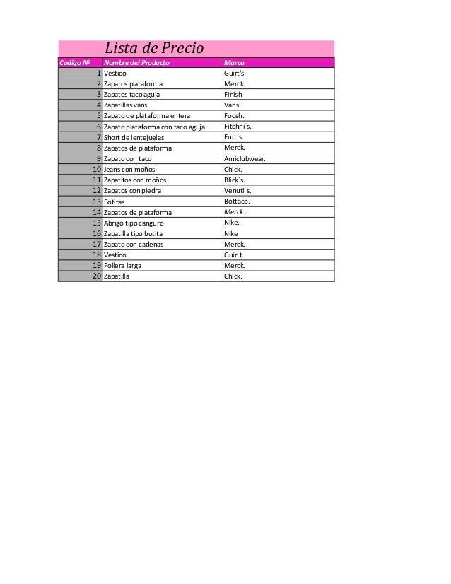 Lista de Precio  Codigo Nº  Nombre del Producto  Marca  1  Vestido  Guirt's  2  Zapatos plataforma  Merck.  3  Zapatos tac...