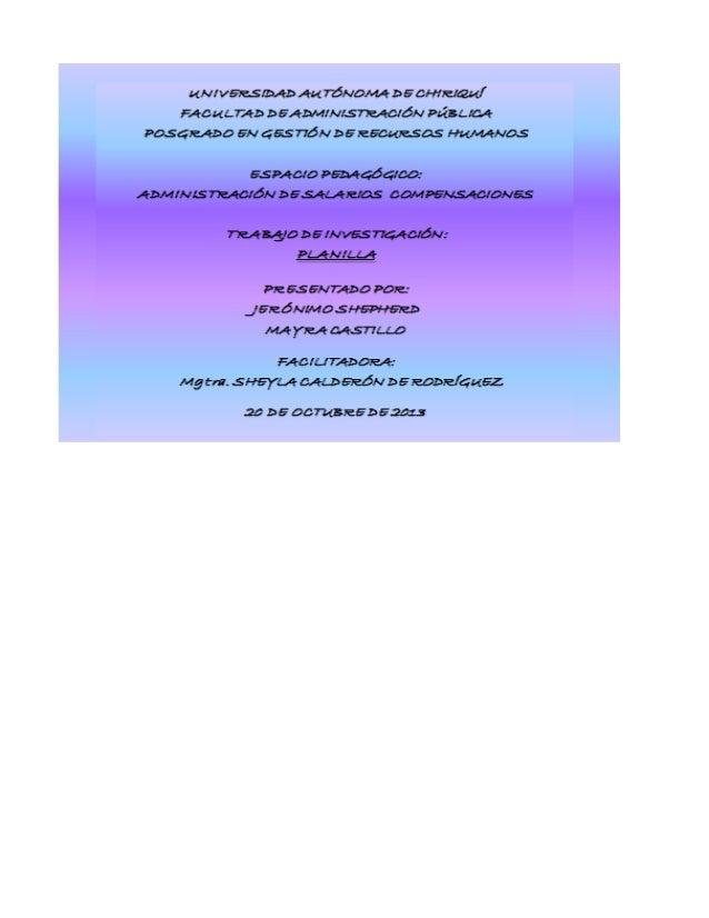 EMPRESA DISTRIBUIDORA UNIDAD DEPARTAMENTO DE RECURSOS HUMANOS SECCIÓN DE PLANILLA FECHA: DEL 1 AL 15 DE OCTUBRE DE 2013  D...