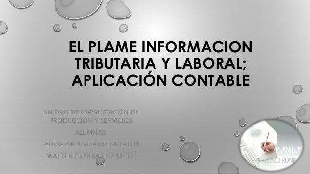 EL PLAME INFORMACION TRIBUTARIA Y LABORAL; APLICACIÓN CONTABLE UNIDAD DE CAPACITACIÓN DE PRODUCCIÓN Y SERVICIOS ALUMNAS: A...