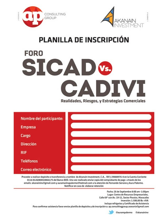 Planilla Inscripcion Foro SICAD vs CADIVI