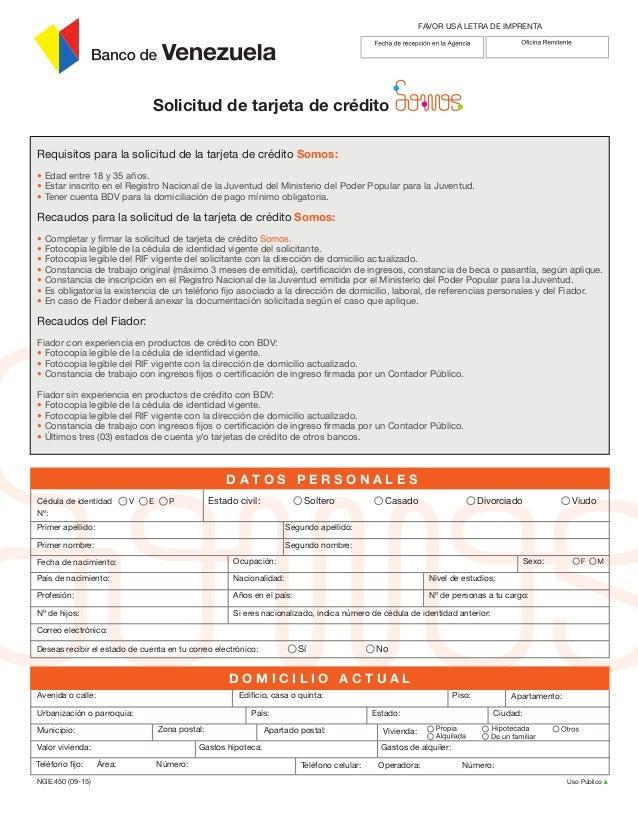 Planilla somos for Banco de venezuela solicitud de chequera