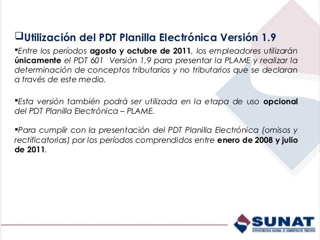 pdt planilla electronica 1.8