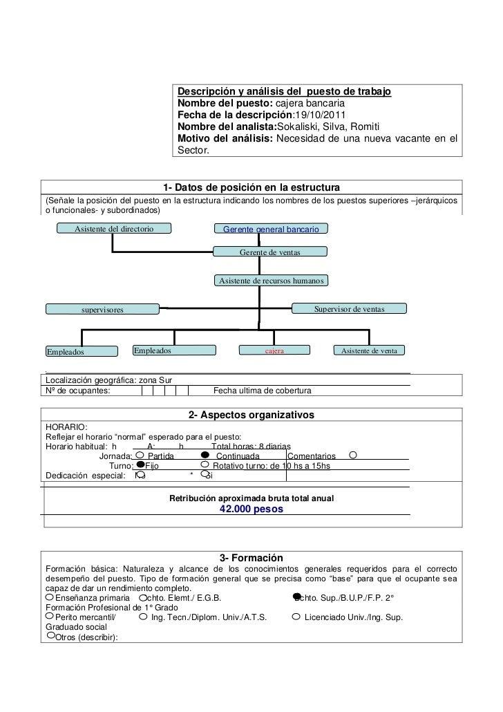 Descripción y análisis del puesto de trabajo                                     Nombre del puesto: cajera bancaria       ...