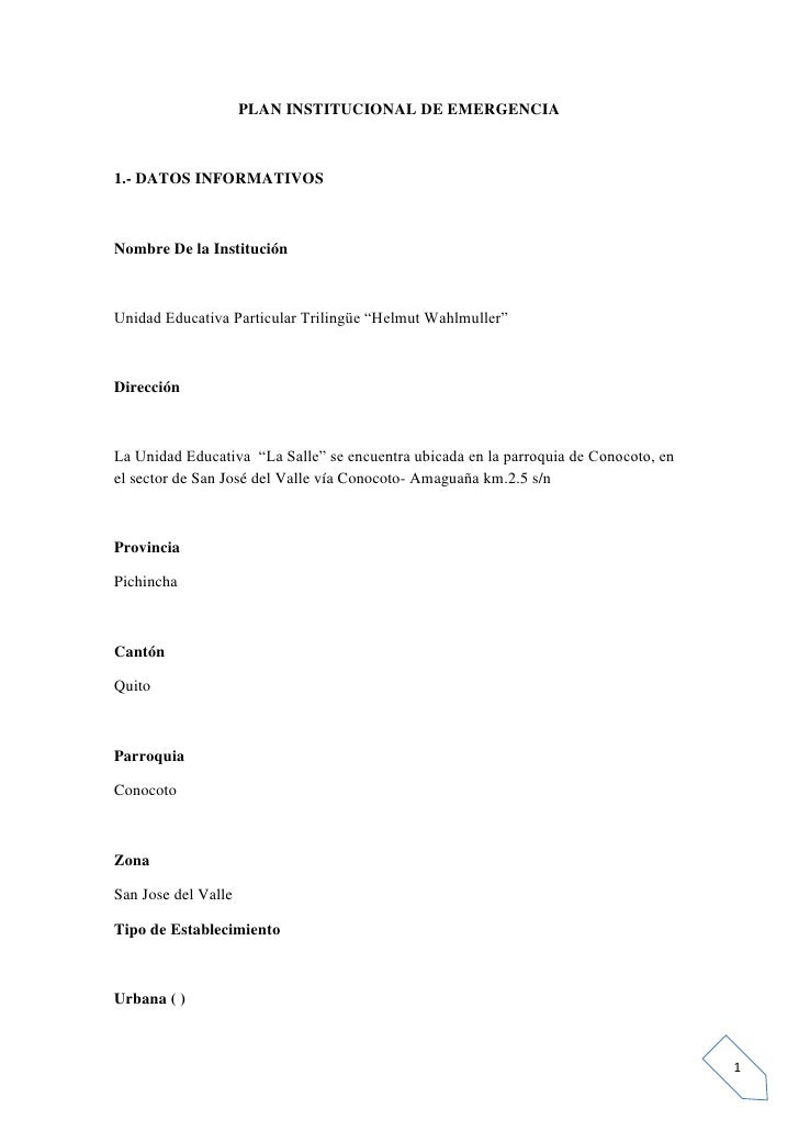 """PLAN INSTITUCIONAL DE EMERGENCIA1.- DATOS INFORMATIVOSNombre De la InstituciónUnidad Educativa Particular Trilingüe """"Helmu..."""