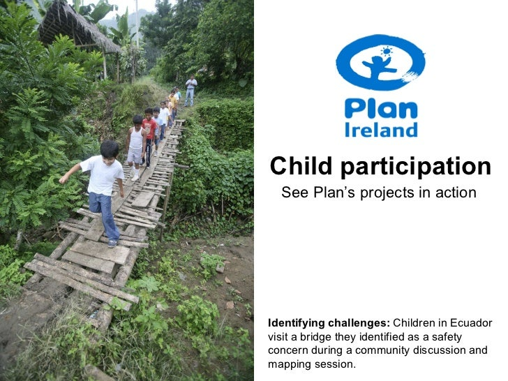 Identifying challenges:  Children in Ecuador visit a bridge they identified as a safety concern during a community discuss...