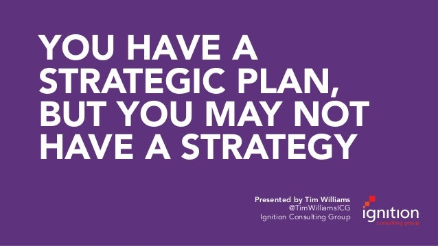 YOU HAVE A STRATEGIC PLAN, BUT YOU MAY NOT HAVE A STRATEGY Presented by Tim Williams @TimWilliamsICG Ignition Consulting G...