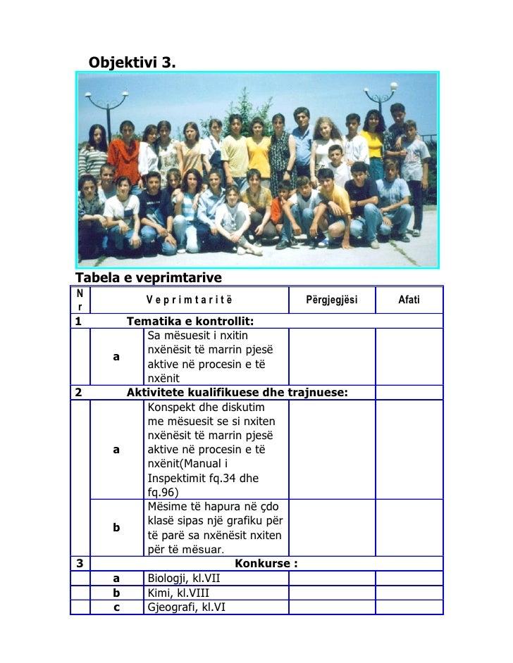 Objektivi 3.Tabela e veprimtariveN              Veprimtaritë               Përgjegjësi   Afatir1          Tematika e kontr...