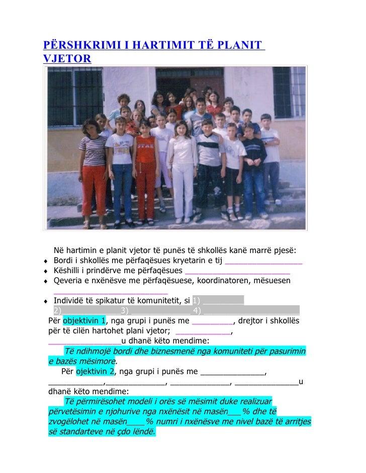 PËRSHKRIMI I HARTIMIT TË PLANITVJETOR  Në hartimin e planit vjetor të punës të shkollës kanë marrë pjesë:♦ Bordi i shkollë...