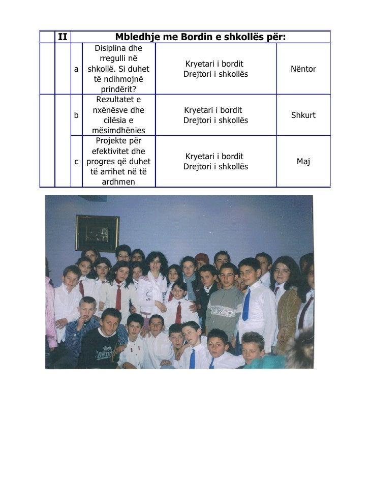 II             Mbledhje me Bordin e shkollës për:         Disiplina dhe           rregulli në                            K...