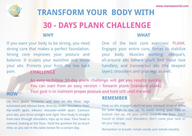 TRANSFORM YOUR BODY WITH 30 - DAYSPLANK CHALLENGE www.martasworld.com WHY If you want your body to be strong, you need str...