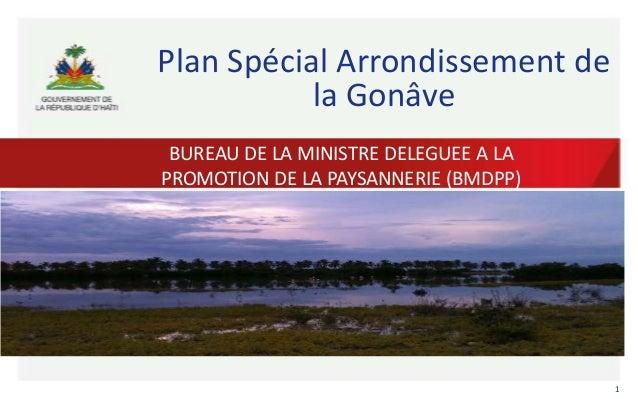 Plan Spécial Arrondissement de la Gonâve BUREAU DE LA MINISTRE DELEGUEE A LA PROMOTION DE LA PAYSANNERIE (BMDPP)  1