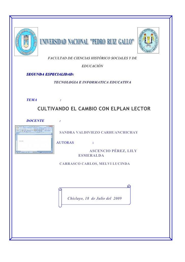 FACULTAD DE CIENCIAS HISTÓRICO SOCIALES Y DE                            EDUCACIÓN  SEGUNDA ESPECIALIDAD:              TECN...