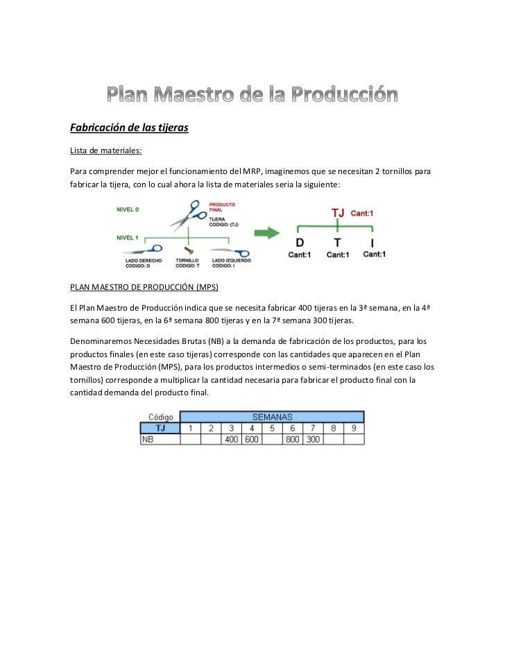 Fabricación de las tijerasLista de materiales:Para comprender mejor el funcionamiento del MRP, imaginemos que se necesitan...
