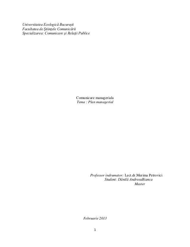 Universitatea Ecologică Bucureşti Facultatea de Ştiinţele Comunicării Specializarea: Comunicare şi Relaţii Publice  Comuni...