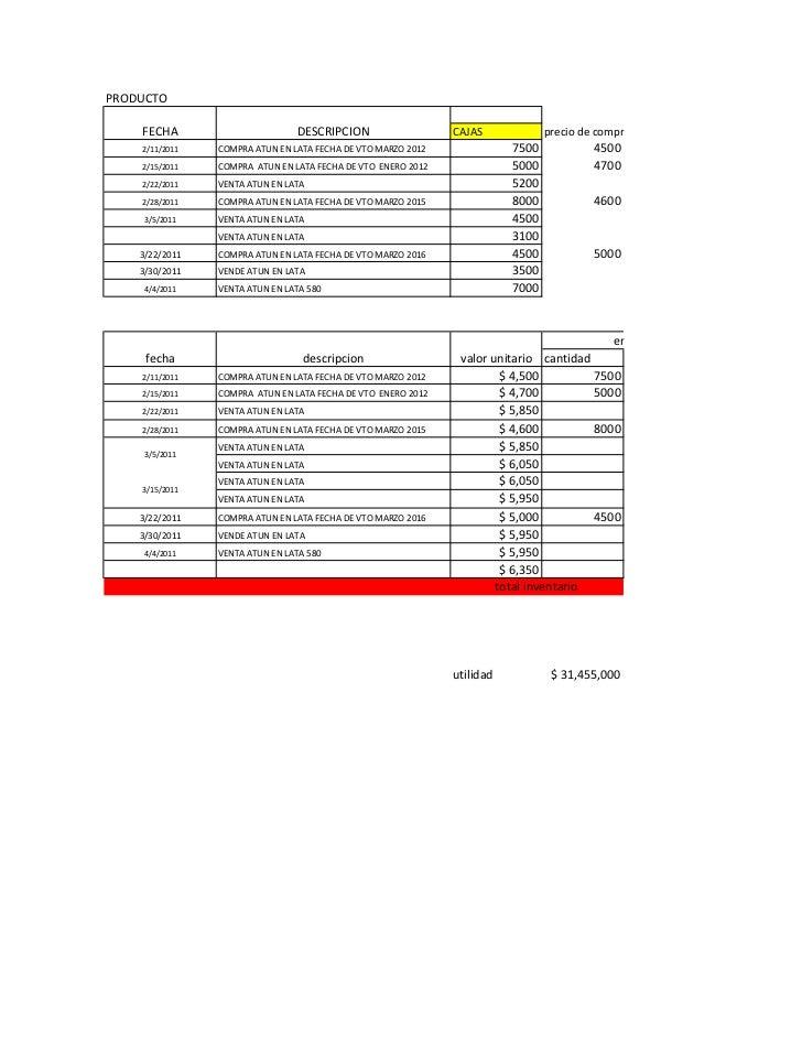 PRODUCTO    FECHA                       DESCRIPCION                   CAJAS             precio de compra    2/11/2011   CO...