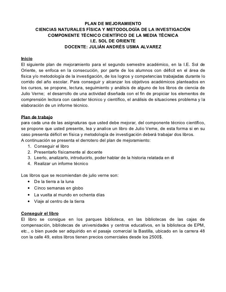 PLAN DE MEJORAMIENTO       CIENCIAS NATURALES FÍSICA Y METODOLOGÍA DE LA INVESTIGACIÓN            COMPONENTE TÉCNICO CIENT...
