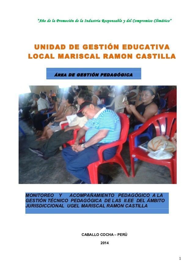 """""""Año de la Promoción de la Industria Responsable y del Compromiso Climático""""  UNIDAD DE GESTIÓN EDUCATIVA  LOCAL MARISCAL ..."""