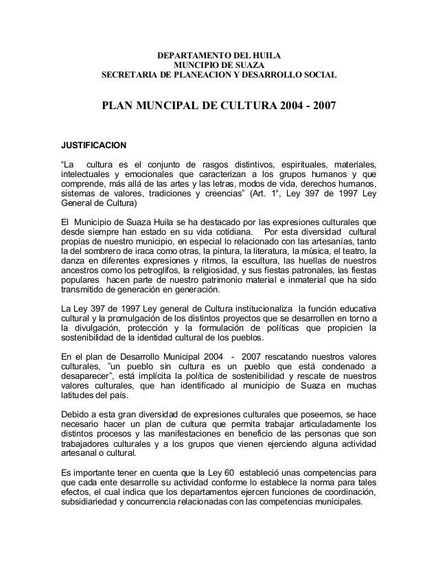 DEPARTAMENTO DEL HUILA                         MUNCIPIO DE SUAZA           SECRETARIA DE PLANEACION Y DESARROLLO SOCIAL   ...