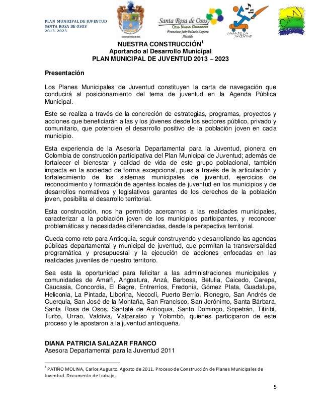 Plan Municipal de Juventud Santa Rosa de Osos