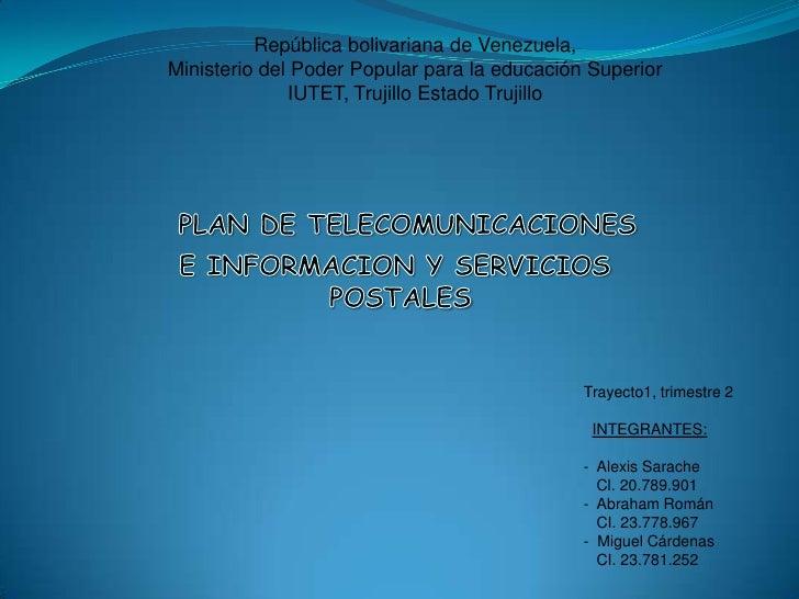 República bolivariana de Venezuela,Ministerio del Poder Popular para la educación Superior              IUTET, Trujillo Es...