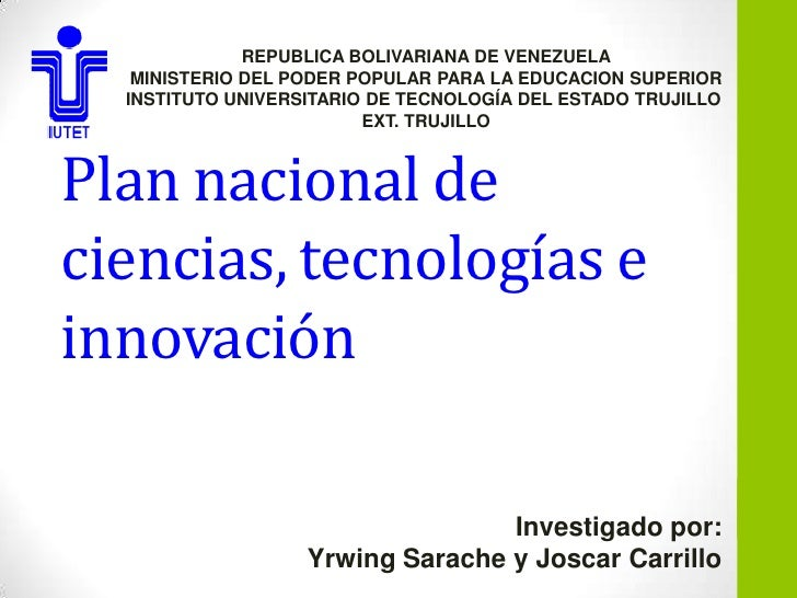 REPUBLICA BOLIVARIANA DE VENEZUELA   MINISTERIO DEL PODER POPULAR PARA LA EDUCACION SUPERIOR  INSTITUTO UNIVERSITARIO DE T...