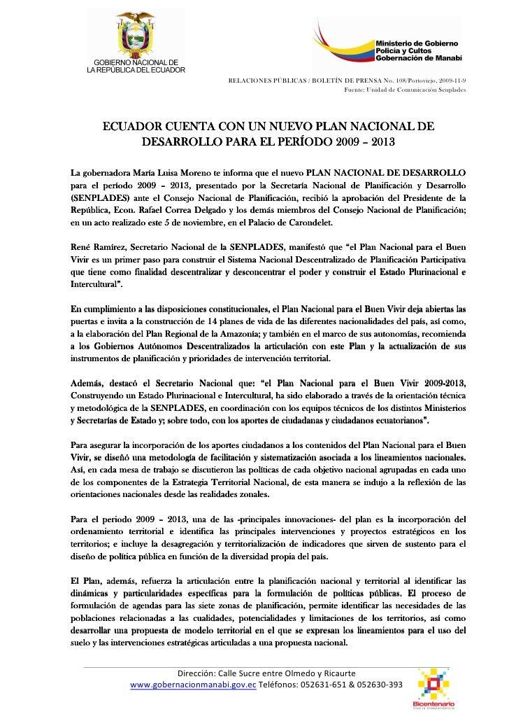 RELACIONES PÚBLICAS / BOLETÍN DE PRENSA No. 108/Portoviejo, 2009-11-9                                                     ...