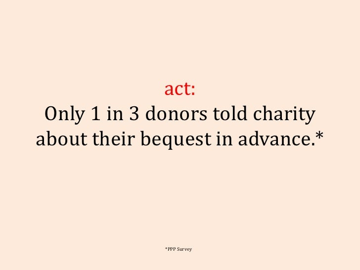 Fact: Only 1 in 3 donors told charity about their bequest in advance.* *PPP Survey