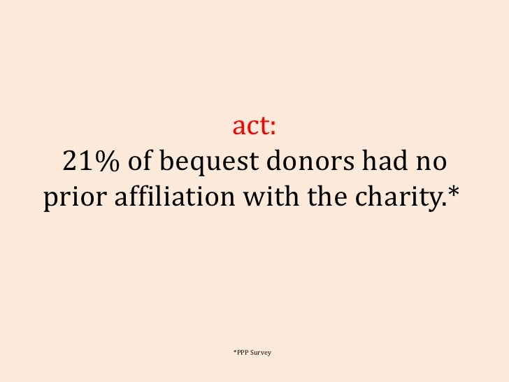 Fact: 21% of bequest donors had no prior affiliation with the charity.*  *PPP Survey