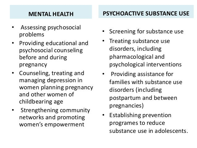 MENTAL HEALTH • Assessing psychosocial problems • Providing educational and psychosocial counseling before and during preg...