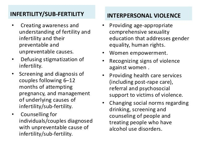 INFERTILITY/SUB-FERTILITY • Creating awareness and understanding of fertility and infertility and their preventable and un...