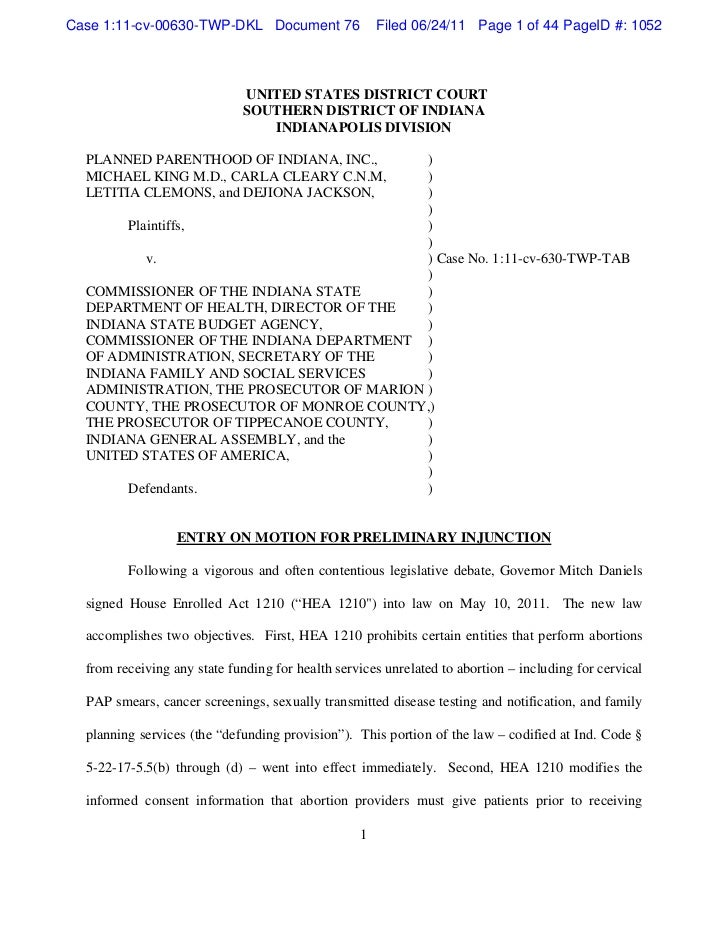 Case 1:11-cv-00630-TWP-DKL Document 76                Filed 06/24/11 Page 1 of 44 PageID #: 1052                          ...