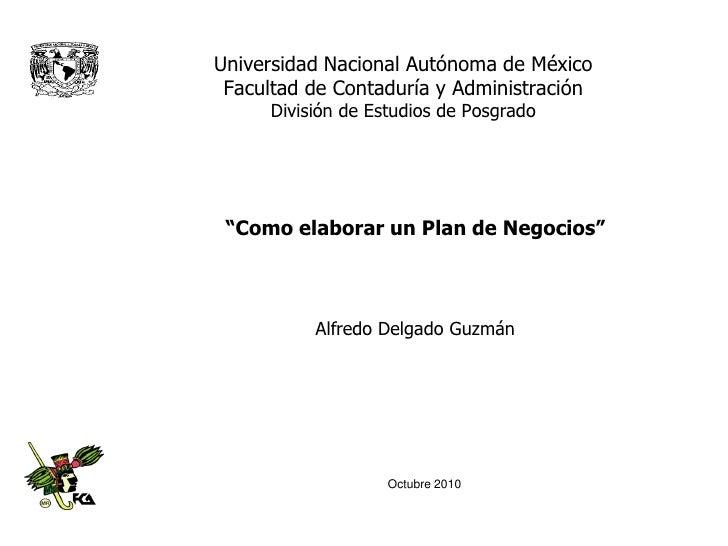"""Universidad Nacional Autónoma de México Facultad de Contaduría y Administración      División de Estudios de Posgrado """"Com..."""