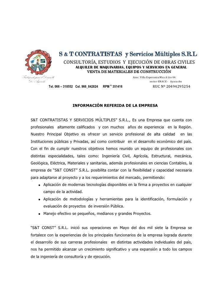 S & T CONTRATISTAS  y Servicios Múltiples S.R.L<br />CONSULTORÍA, ESTUDIOS  Y  EJECUCIÓN DE OBRAS CIVILES<br />           ...