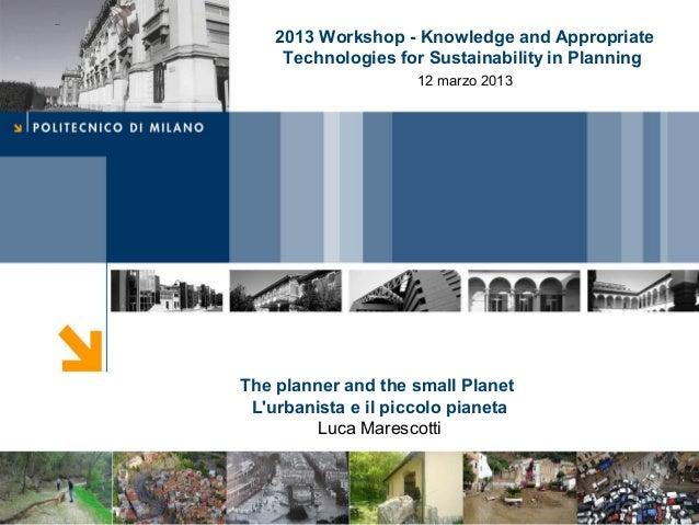 CoverThe planner and the small PlanetLurbanista e il piccolo pianetaLuca Marescotti2013 Workshop - Knowledge and Appropria...