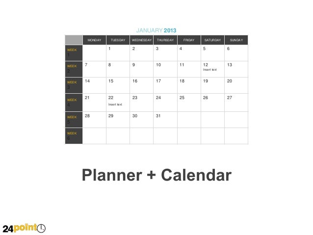 Planner calendar editable powerpoint slides for Saturday to friday calendar template