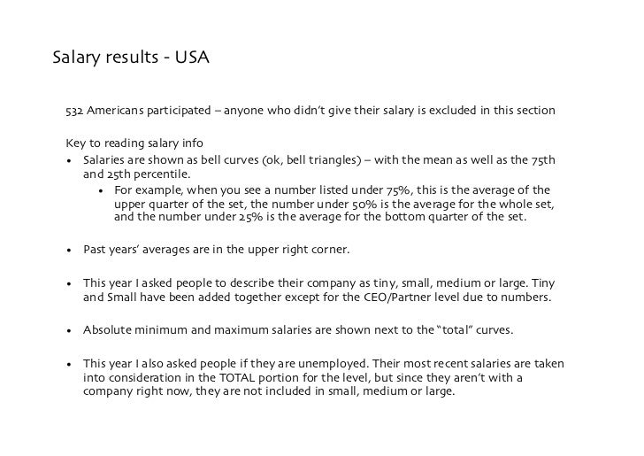 Salary results - USA   532 Americans participated – anyone who didn't give their salary is excluded in this section   Key ...