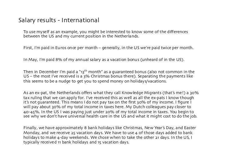 Salary results - International  To use myself as an example, you might be interested to know some of the differences  betwe...