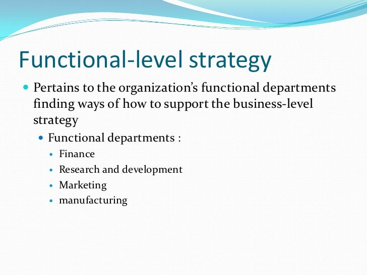 Business-level strategy<br />Pertains to each business unit or product line.<br />Focuses on how the business units compet...